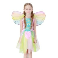 ingrosso ali per i costumi-New Hot Kids Fairy Angel Wings Halloween Party cosplay Fancy Dress Costume dimensione per bambini Arcobaleno colore all'ingrosso PS043