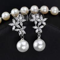 ingrosso placcatura di rodi di ottone-Alta qualità 18k placcato oro nuovi disegni accessori da sposa ottone cz orecchini perla ciondolo perla per le donne