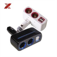 Wholesale Lighter Splitter Usb Light - Wholesale- Black White 3.1A 80W Dual USB Car Charger Adapter 2 Socket Car Cigarette Lighter Splitter Adapter with Build-in Fuse Blue Light