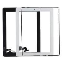 verre ipad2 achat en gros de-Panneau de verre à écran tactile avec des boutons de numériseur adhésif pour iPad 2 3 4 noir et blanc gratuit DHL