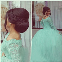 Wholesale Mint Green Sequin Prom Dress - Plus Size Long Sleeve Quinceanera Dress Ball Gown Prom Dresses Beaded Sequins Sweet 16 Dresses Lace Applique Mint vestidos de quinceanera