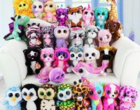 Wholesale Ty Toy Dogs - TY beanie boos big eyes plush toy doll child birthday Christmas gift Dog elephant rabbit Penguin Free Shipping