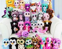 chiens jouets gratuits achat en gros de-TY bonnet boos grands yeux peluche jouet poupée enfant anniversaire cadeau de Noël chien éléphant lapin pingouin livraison gratuite