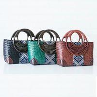 Wholesale Korean Straw Beach Bags - The new Thai version of the seaweed weaving bag rattan bamboo woven handle handbag ladies holiday beach bag