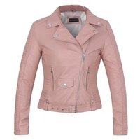 Wholesale Ladies Leather Jackets Sale - 2016 New Fashion women leather coat soft faux leather Ladies pink jacket female coat Drop Shipping hot sale high quality spring