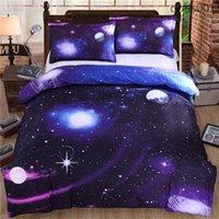 cama de espacio reina al por mayor-Mejor venta de Mink 3D Galaxy Juegos de cama Juegos de 4 piezas Universo Espacio exterior Funda nórdica temática Sábana Funda de almohada tamaño queen