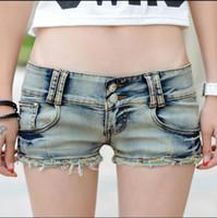 Wholesale Disco Jeans - Wholesale- 2017 summer Fashion sexy female girls women Disco Nightclubs straight Nostalgia Elastic jeans Denim shorts clothing clothes