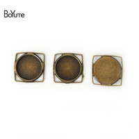 Wholesale Silver Square Cabochon Setting - BoYuTe 20Pcs 12MM Cabochon Setting Square Shaped Antique Bronze Silver Plated Cameo Cabochon Base DIY Jewelry Findings