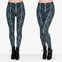 Wholesale Ladies Tight Stretch Leggings - Lady Leggings Deathly Hallows 3D Graphic Print Women Tight Skinny Stretch Pants Girl Yoga Wear Sports Workout Capris Soft Trousers (J29720)