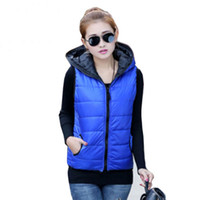 Wholesale Hooded Outerwear Vest - 2016 Winter Thickening Outerwear Hooded Patterns Fashion Casual Cotton Slim Women Vest Jacket Motorcycle Vest Women tops