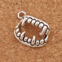 Wholesale Vampire Charms - Vampire Fangs Teeth Charms Pendants 300pcs lot 17.5x12.3mm Antique Silver Jewelry DIY L165 LZsilver
