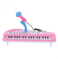 Wholesale mini piano toys - 37 Keys Electone Mini Electronic Keyboard Musical Toy with Microphone Educational Electronic Piano Toy for Children Kids Babies