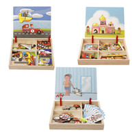 Wholesale Wooden Magnetic Drawing Board - 5 Sets Children Wooden Puzzles Circus Buildings Multifunctional Magnetic Kids Puzzle Drawing Board Educational Toys
