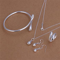 Wholesale Bracelet Ring Combination - 925 sterling silver jewelry set drop earrings rings necklaces charm bracelet combination 5set lot