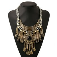 Wholesale Big Coin Necklace - Wholesale Big Fashion Exaggerated Style Multi-ethnic Women's statement Necklace Antique Coin Tassels Evening Dress Jewelry Free Shipping