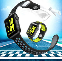 Wholesale Loop Device - NK Replacement Smart Strap For Apple Watch Luxury Soft Silicone Sport Band NK Hole Loops Strap Wearable Device 38 42mm Bracelet newest