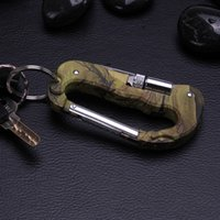 Wholesale D Shape - Outdoor Multi Tool Carabiner Survival gadgets With LED Light with Folding Pocket Knifes Camouflage Keychain D Shape