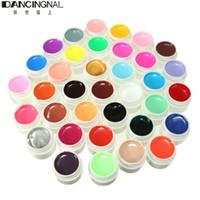 potes de gel de unhas uv venda por atacado-Atacado-Pro 36 Potes Nail Art Gel UV Dicas de Cobertura Brilhante Cores Sólidas Excelente Extensão DIY Manicure Para Decoração Ferramentas de Design