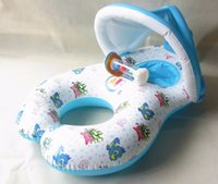 Wholesale Inflatable Baby Ring Seat - Wholesale- New Inflatable Mother and Baby Swim Float Circle Ring Kids Seat With Sunshade Swimming Pool