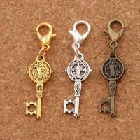 Saint Benedict Medal Cross Key Clasp European Lobster Trigger Clip On Charm Beads 100pcs / lot 38.3X9.4mm c1687