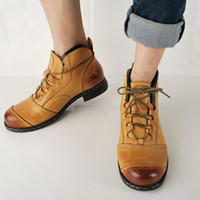 Wholesale Retro Square Heels - Retro Man's Leather Shoes British Style Leisure High Boots Man Leather Cowboy Boots Handsome Ankle Boots Genuine Leather, EU39-44