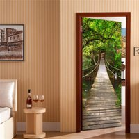 Wholesale Bridge Wall Art - 77*200cm creative 3D suspension bridge wall Stickers DIY mural bedroom vinyl Removable door poster home decor