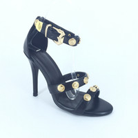 Wholesale Rivets Image - 2017 Real Image Women Sandals Party Shoes Rivets Sexy Buckle Strap High Heels Custom Made Plus SU4-US15 Party Ladies Shoes Cheap Modest