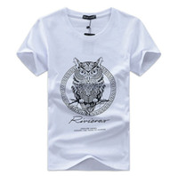 Wholesale Owl T - 2017 men t-shirt summer men tshirt funny print men's tshirt homme cotton cartoon Owl T-shirt mens brand tee shirt plus size 4 XL