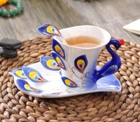 Wholesale Peacock Tea Cup Set - Enamel Peacock Coffee Mug Creative Tea Milk Cup Set Bone China 3D Color Porcelain Saucer Spoon Drinkware