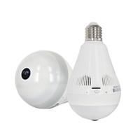 bombillas de luz infrarroja al por mayor-1.3MP estilo de bulbo 1.44mm 360 degreen lente de ojo de pez cámara de red 3 led de visión nocturna por infrarrojos luces panorámicas cámara ip