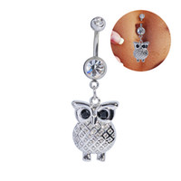 Wholesale Kawaii Jewelry - Kawaii Owl Belly Button Rings 316L Surgical Steel Sexy Navel Rings Dangle For Women Girls Belly Piercing Body Jewelry