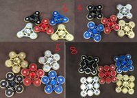 Wholesale Colorful Foreign - Novelty Toy EDC The explosion of metal finger gyro 3 , 4 , 5 ,tooth 9 foreign trade Aluminum Alloy colorful linkage gear decompression toys,