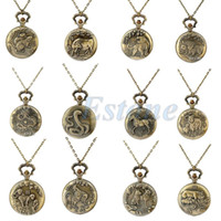Atacado-Vintage Men Women Chinese Zodiac Serpente Dog Tiger Quartz Pocket Watch Necklace