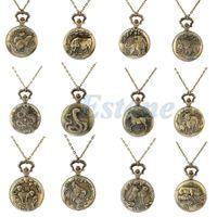 Wholesale Tiger Necklace Men - Wholesale-Vintage Men Women Chinese Zodiac Snake Dog Tiger Quartz Pocket Watch Necklace