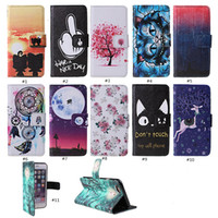 Wholesale Mobile Covers Printing - For Iphone 7 Cases PU Leather I7 Plus Cover Painted Printing Mobile phone Holster Fashion Patterns Can Choose OPP Bag