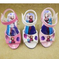 Wholesale Sandals For Girls Dress - EUR21-EUR36 Frozen Girls Toddler Sandals Anna and Elsa Girls' Pu Sandals Dress Shoes Various Size for Kids