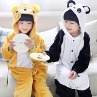 Wholesale Girls Panda Pajamas - Wholesale- Super Soft Children'S Cartoon Animal Flannel Pajamas For Boys Girls Chinese Panda & Bear Pajamas Overall Pyjamas