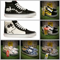 Wholesale Comic Shoes - 2017 vans x peanuts Skate Canvas Slip-On Low High Tops Shoes Women Mens Snoopy Comic Pink Good Grief Old Skool Casual Sneakers 35-44