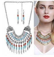 Wholesale Turquoise Women Suits - New necklace Suits Bohemia folk style set pendant jewelry trade chain tassel exaggerated Women Jewelry Set