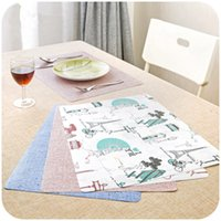 Wholesale Fabric Place Mats - Wholesale- 1PC Creative Reversible non-woven fabric Dishes Place Mat Matte Insulation Table Decoration