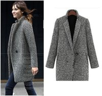 Wholesale Womens Winter Woolen Coats - Hot Sale Winter Wool Coat Jacket Womens 2017 New Fashion Europe Slim Single Breasted Coat Thick Woolen Jacket Coat Women
