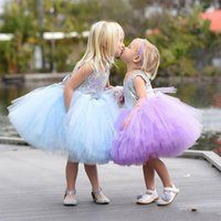 Wholesale Knee Length Puffy Dresses - 2017 Puffy Tulle Sequin flower girls Dress Cute Knee Length Ball Gown first communion Dresses Toddler Pageant Gowns