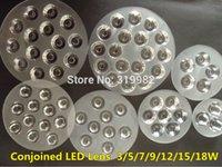 Wholesale Led Lens Lumen - Wholesale- 1 Piece LED Conjoined Lens Spot Lamp Chip Lenses 3W 5W 7W 9W 12W 15W 18W High Power 1W Lumen Flat Transparent Twin Lens