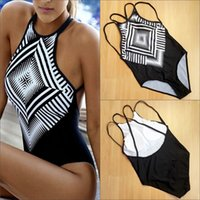 Wholesale Girl S Suits Pieces - Sexy Girls One-piece Suits Women's One Pieces Swimsuit Bikini Print Swimwear Bathing Push Up Padded Sweet Bikinis Drop Shipping