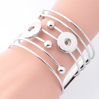 Wholesale bohemian bracelet diy - 1pcs lot 4 Style Exaggerated 3 button 18mm metal snap button bangle female DIY jewelry one direction watches women cater love bracelet TZ11
