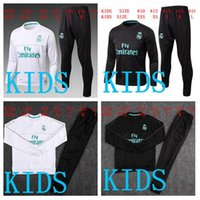 Wholesale Hot Kids Boys - HOT SALE top quality kids 2017 2018 Real Madrid soccer tracksuit suit kids kits 17 18 RONALDO KROOS youth kids training suit SPORTSWEAR