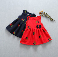 Wholesale Girls Red Cherry Set - 2016 Autunm Top Selling Kids Dress Set Baby Girls Woollen Jumper Skirt With Cherries Embroidery Outfit Kids Clothes Sweet Jumper Skirt Q0432