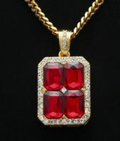 Wholesale Ruby Diamond Pendant Gold - 18K Solid Gold Plated Breaking hip-hop diamond gemstone necklace stitching ruby pendant