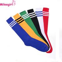 Wholesale Sexy Boots For Girls - Wholesale- Mileegirl Unisex Long Socks Women 5 Colors Stripe Cheerleader Knee High Sock Sexy Cute Boots Socks For Girls