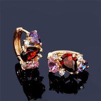 Wholesale Earrings Colorful Stones - Wholesale- H:HYDE Luxury Hoop earrings jewelry For Women colorful CZ stone earrings for women Gold Color earrings christmas gift aros